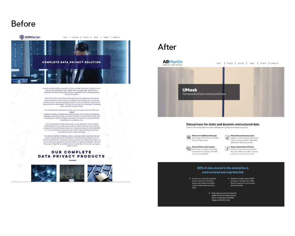 ABMartin Website: Before and After
